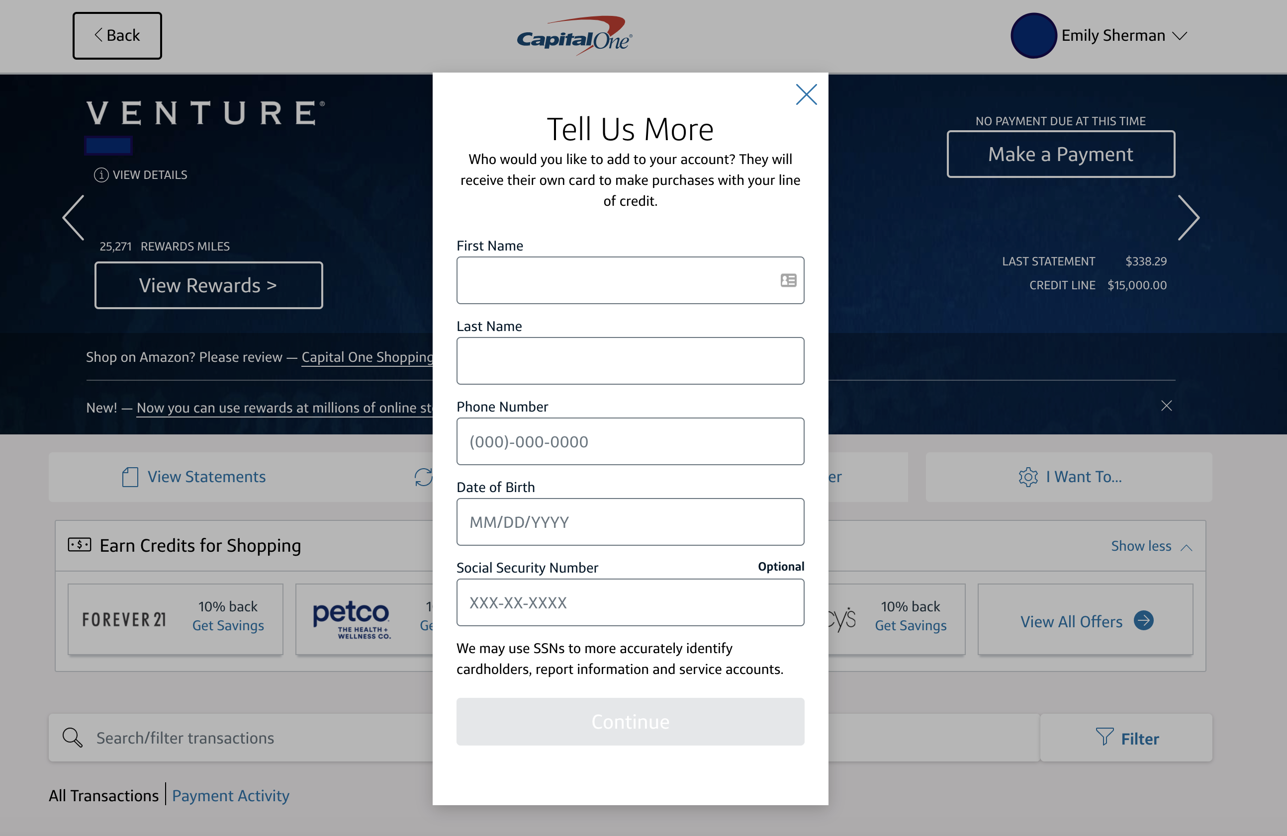 Capital One authorized user online form